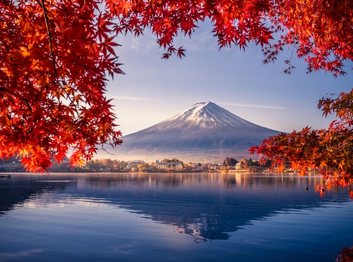 Mount Fuji in Japan with lake view