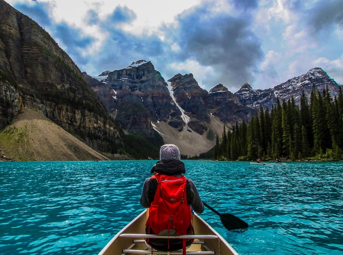 Paddling on lake Louise in Canada