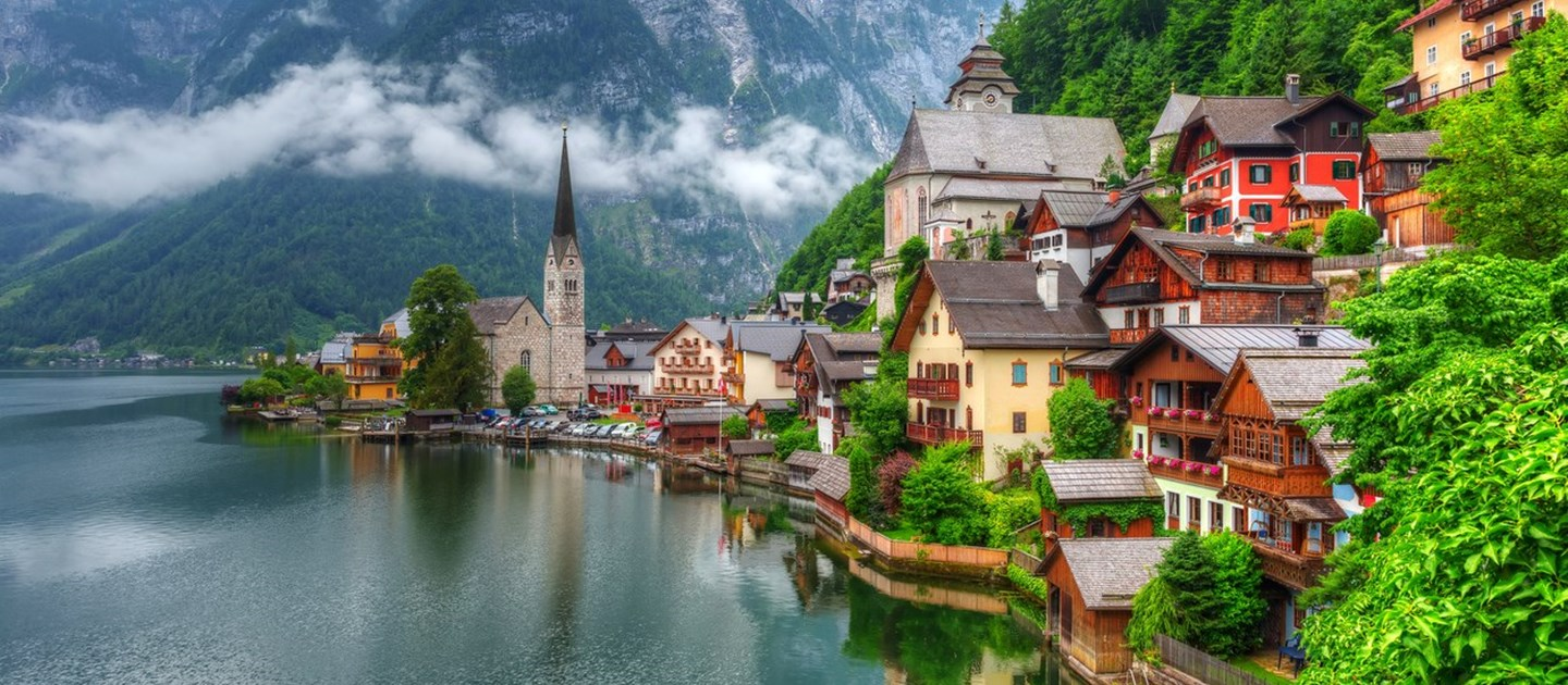 Houses along the lakeside in Austria