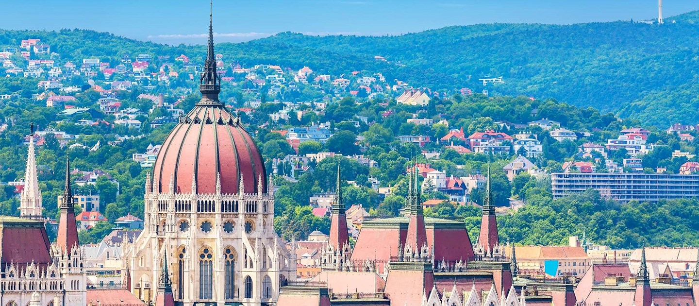 Top view of parliament buildings in Hungary
