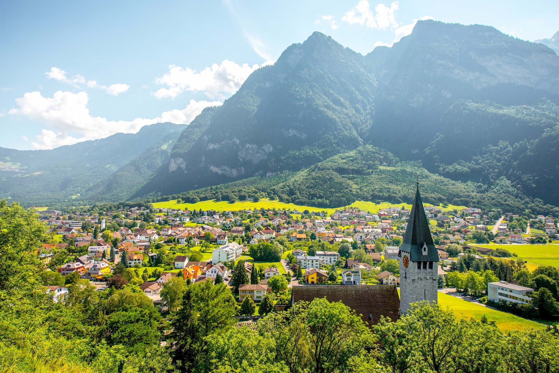 Big Mountains and houses in Liechtenstein