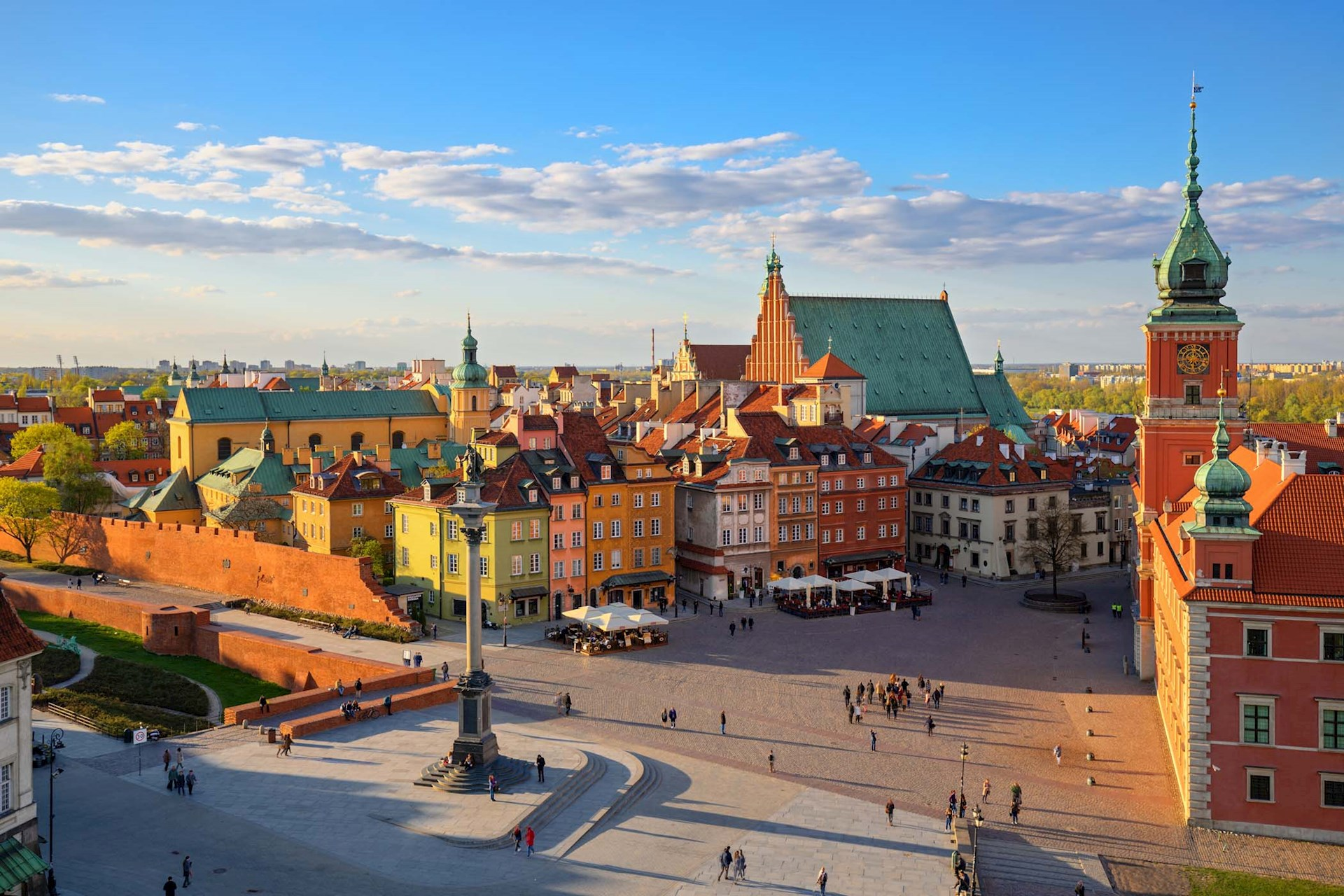 aeriel view of old city in Warsaw