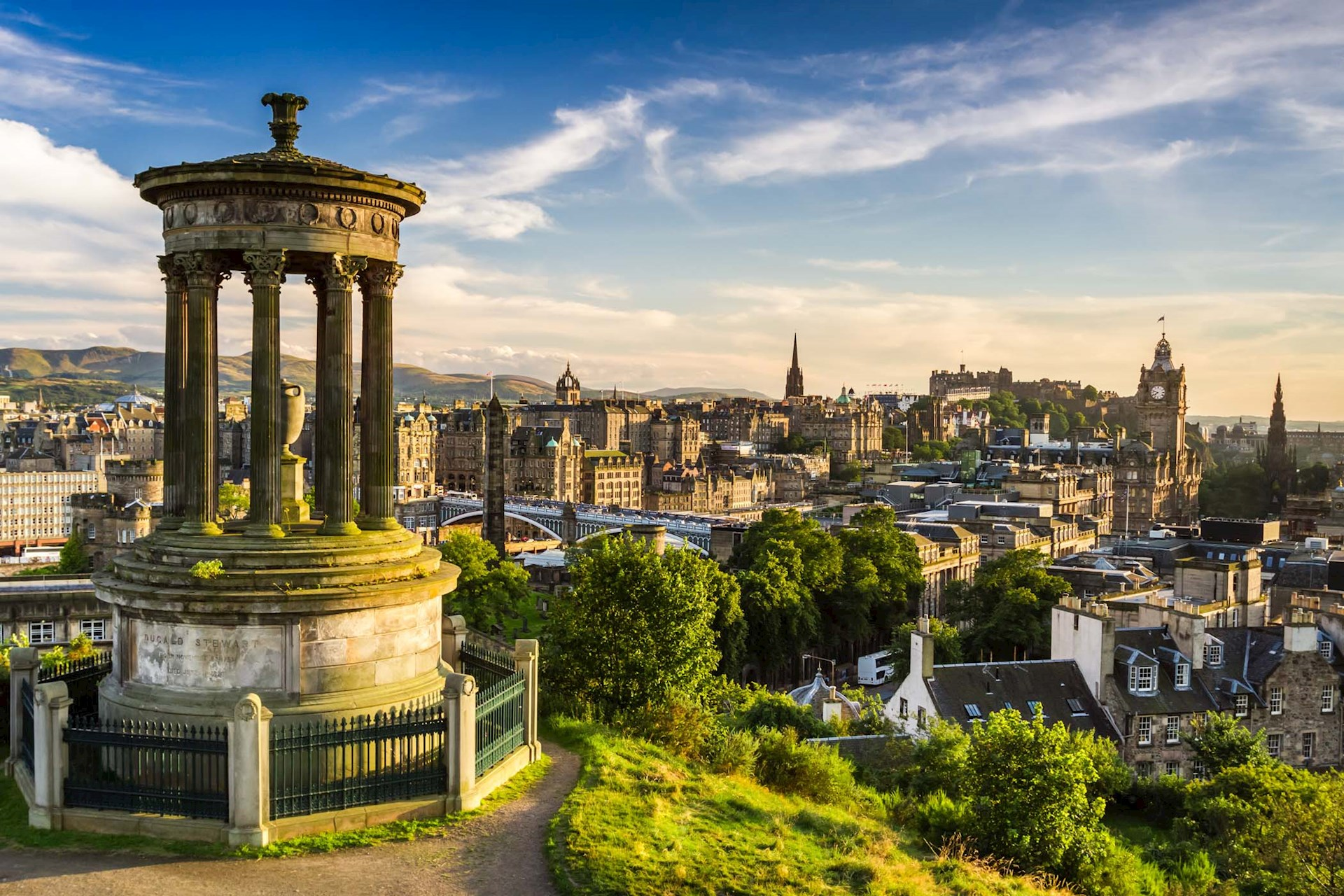 Overlooking city in Calton Hill in Edinburgh