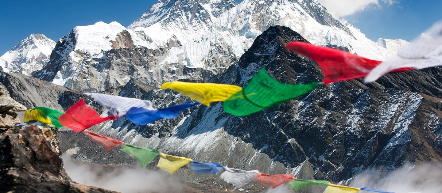 Prayer flags at mount Annapurna in Himalayas